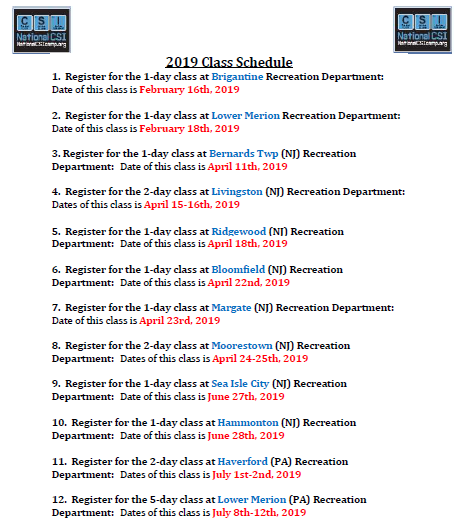 2019 Class Schedule page 1